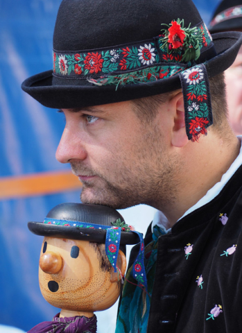 "A Czech musician bears an uncanny likeness to his instrument, known as a ""jingling Johnny"""