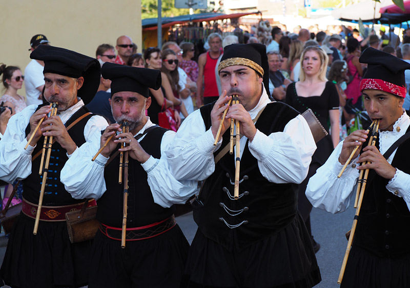 Musicians from Sardinia, Italy, play an ancient musical instrument called the launeddas