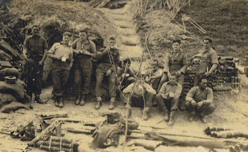 The 12th Platoon stops for a cuppa at the Senio River in Italy