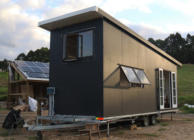 The couple's tiny house is on a trailer for future flexibility