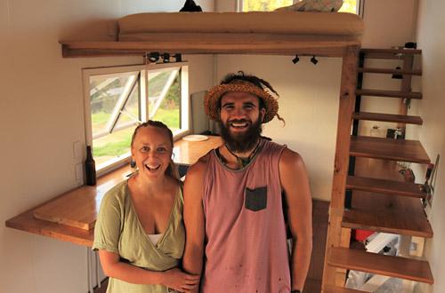 Rangimārie Mules and Jared Hiakita inside their tiny home