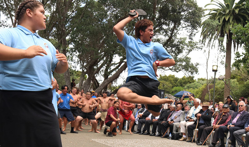 Noah Petersen, of Te Rangi Aniwaniwa, performs a haka in honour of Sir Hek at Waitangi