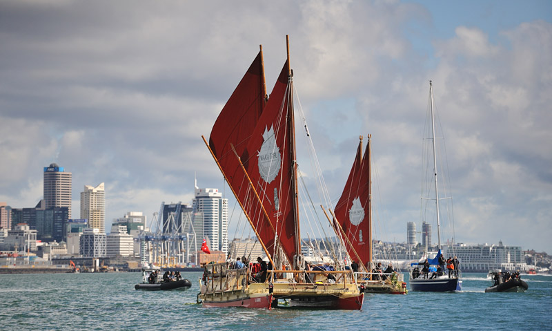 Te Aurere and Ngahiraka Mai Tawhiti leave Auckland at the start of a historic voyage to Easter Island. Photo: Alan MacGillivray