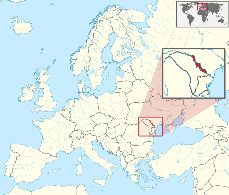 Map showing the location of Transnistria in Europe