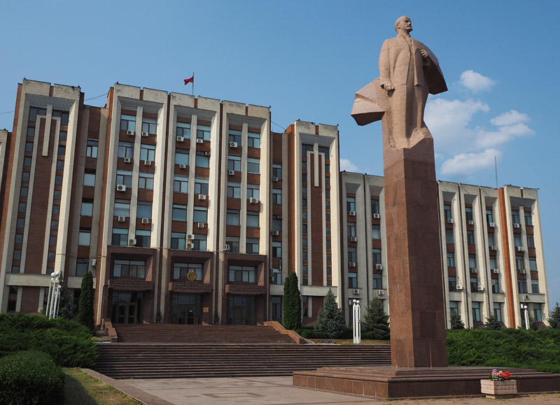 A statue of Soviet leader Lenin stands guards at Transnistria's parliament