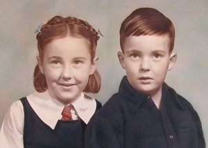 Brian Parkinson and sister Robyn in Opotiki, ca 1947