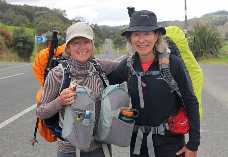 Sally Lobb and Kathy Ramsay, New Zealand, on State Highway 1 at Mangamuka