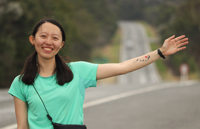 Jia-hui Ling, Taiwan, on State Highway 1, Mangamuka