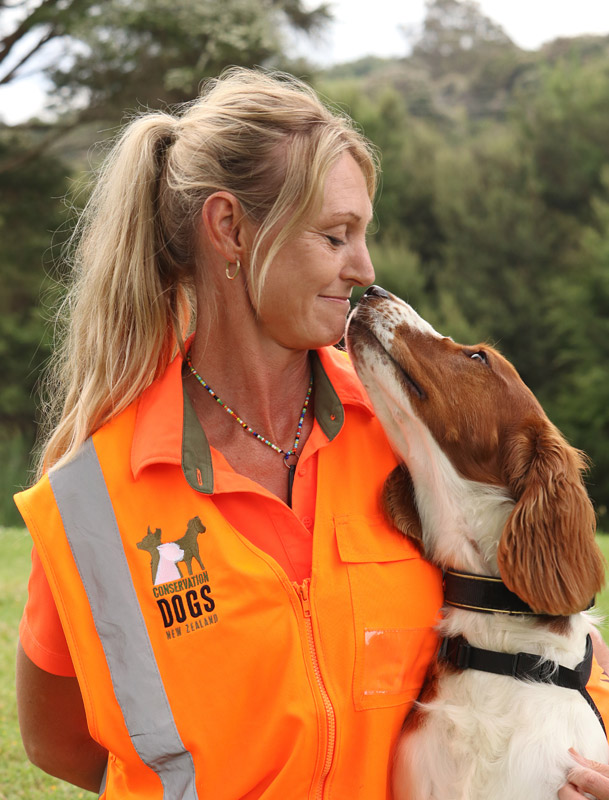 DECEMBER: Conservation dog handler Adeline Bosman and Vito, trained to sniff out invasive Argentine ants. Photo: Peter de Graaf