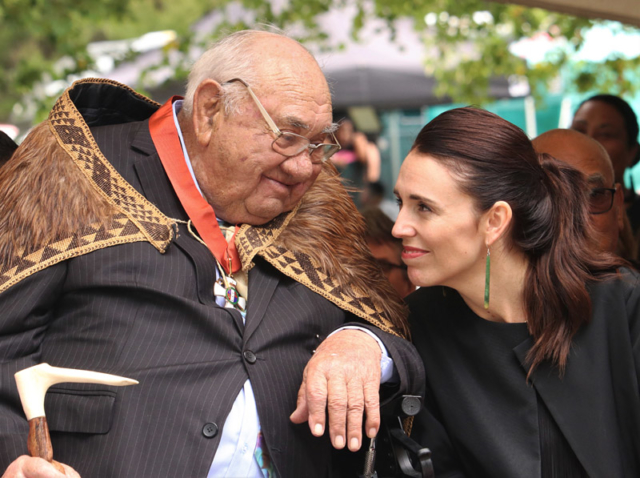 FEBRUARY: Sir Hekenukumai Busby and Prime Minister Jacinda Ardern connect during the master waka builder's knighting at Waitangi. Photo: Peter de Graaf