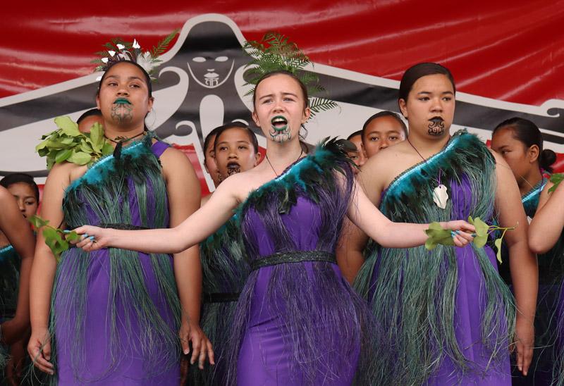 OCTOBER: Girls from Te Kura Kaupapa Māori o Taumarere perform during Te Ahuareka o Ngāti Hine Festival in Moerewa. Photo: Peter de Graaf