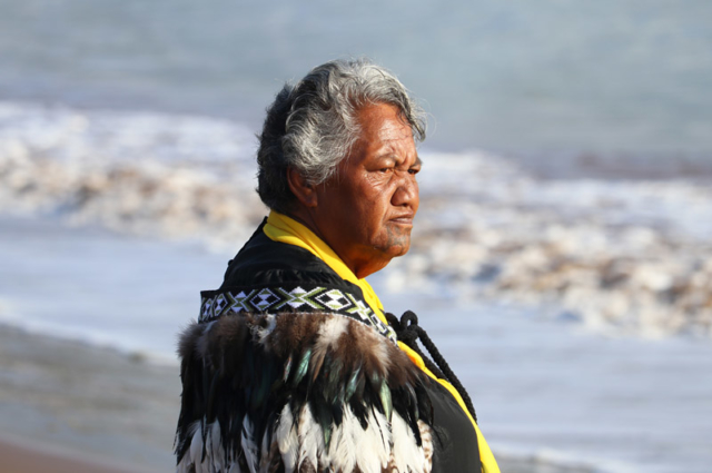 MARCH: Waitangi kuia Ngaire Apiata gazes over the sea during the Bay of Islands Waka Festival. Photo: Peter de Graaf