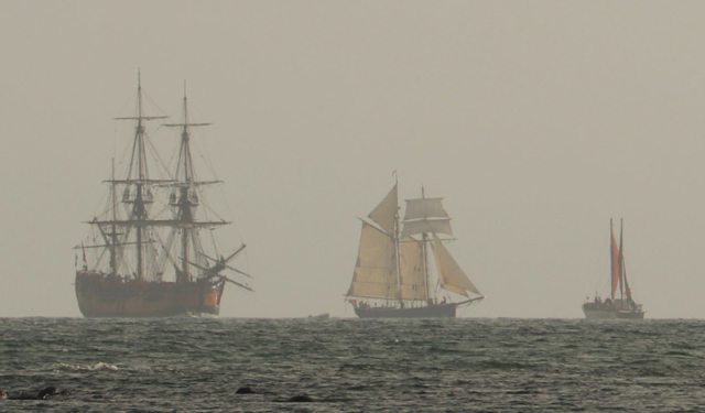 NOVEMBER: Tall ships and a Tahitian voyaging waka appear on the horizon at dawn as Tuia 250 gets underway in the Bay of Islands. Photo: Peter de Graaf