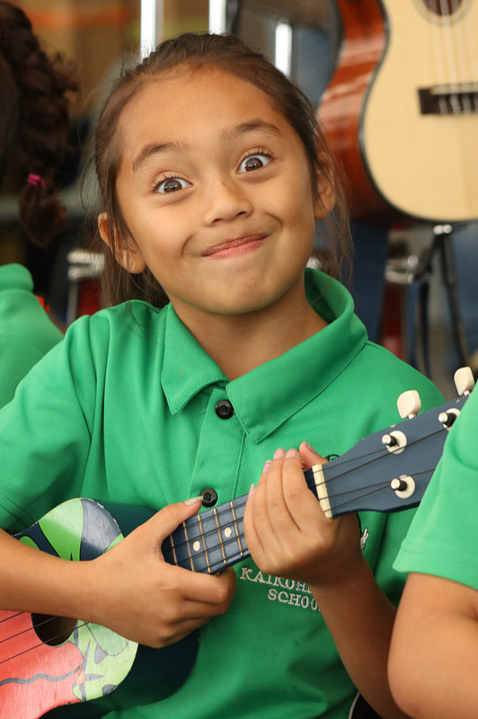 APRIL: Teagan Stevens, 8, gets ready to perform at a ukulele workshop in Kaikohe. Photo: Peter de Graaf