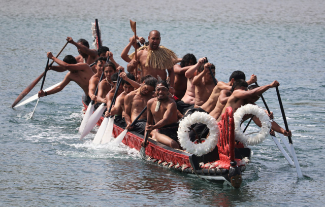 DECEMBER: The waka Ngātokimatawhaorua is put through its paces on the Taipa River. Photo: Peter de Graaf