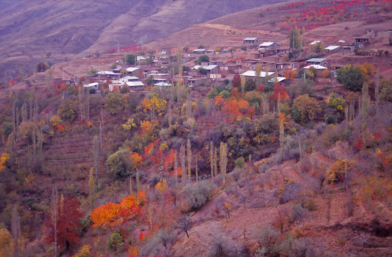 Autumn colours surround a village in the Alborz Mountains