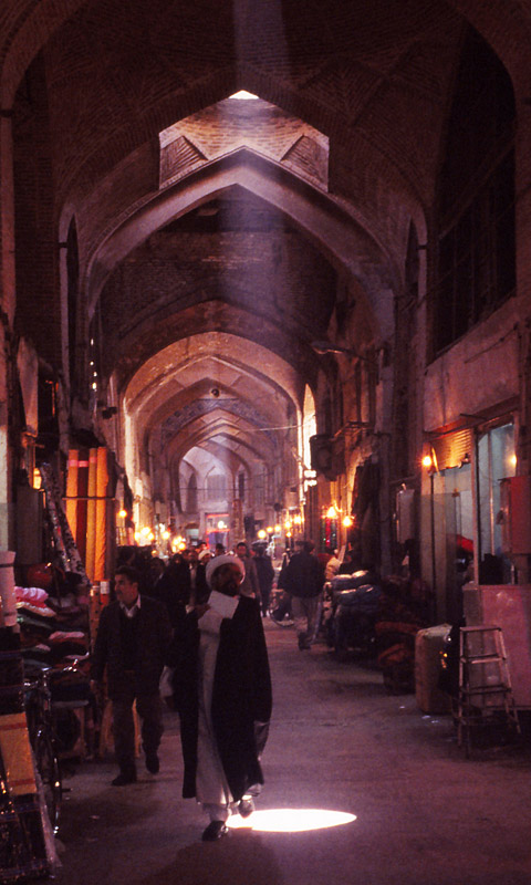 Scene inside Bazar-e Bozorgh, a covered bazaar in Esfahan