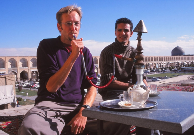 The author and friend at a tea house overlooking Imam Square, Esfahan