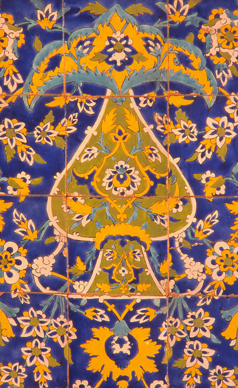 Detail of tilework in a 17th century mosque in Esfahan