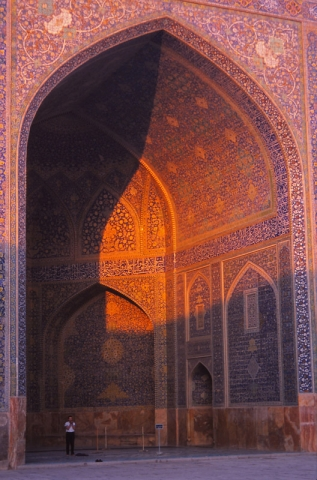 A man prays in an iwan, or portal, of the 17th century Imam Mosque in Esfahan