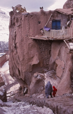 A home in Kandovan carved from volcanic rock