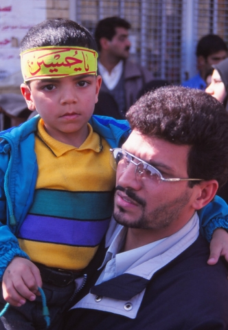 Father and son at Jerusalem Day protests in Yazd