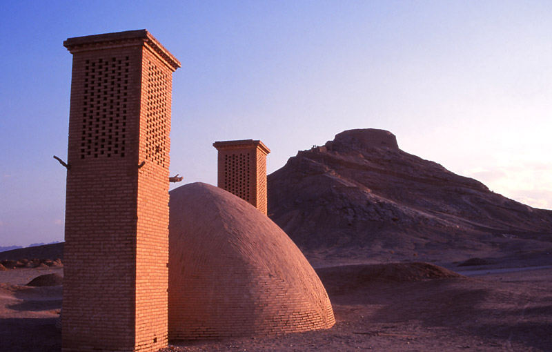 An ancient water reservoir with cooling towers, Yazd
