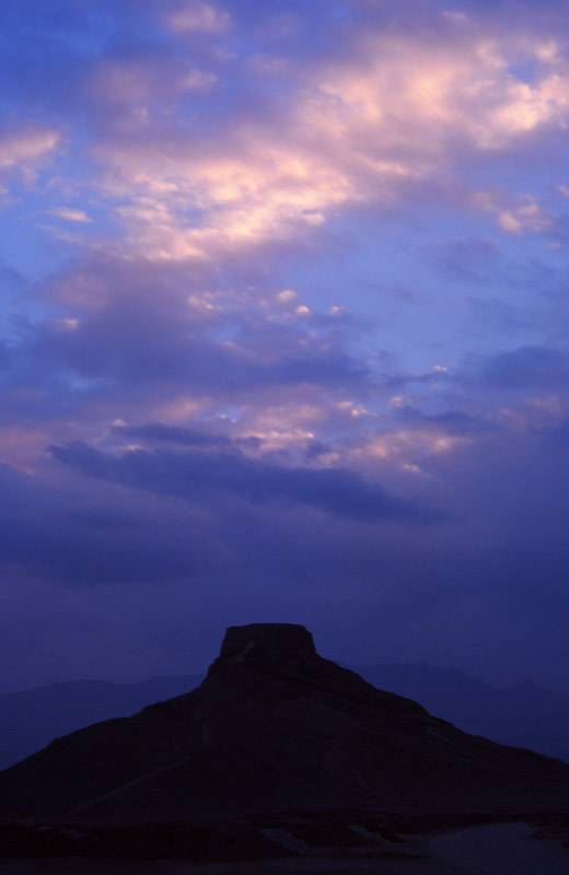 A Zoroastrian Tower of Silence at sunset, Yazd