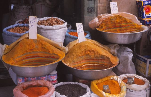 Persian spices at a shop in Qazvin