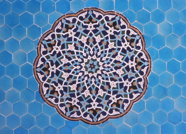 Detail of tilework on the 14th century Jameh Mosque, Yazd