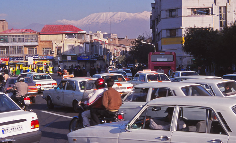 Some aspects of life in Iran are strictly controlled but traffic in Tehran is a chaotic free-for-all