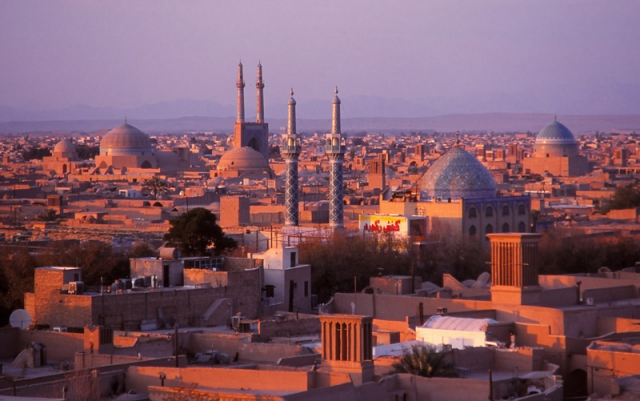 Evening view of Yazd from a minaret of the Amir Chaqmaq complex