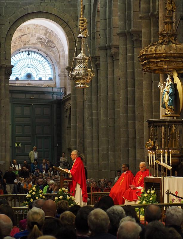 Mass in the Cathedral of Santiago de Compostella, destination of pilgrims walking the Camino de Santiago