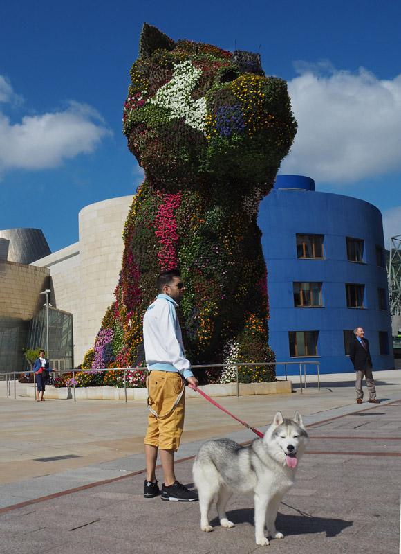 Jeff Koons' Puppy, a 13m-high living sculpture of a West Highland terrier, stands guard outside Bilbao's Guggenheim Museum