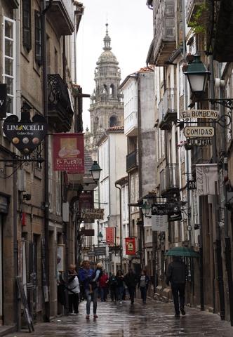 Street scene in Santiago de Compostella, Spain
