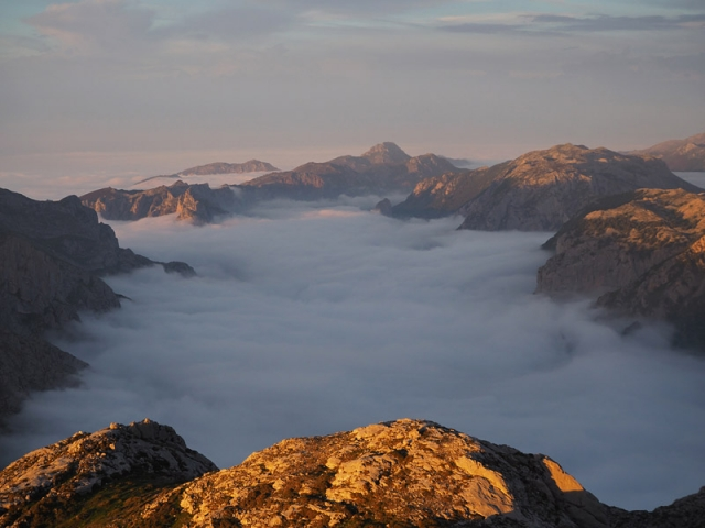 Sunset from a mountain top in Picos de Europa, a mountain range in northern Spain