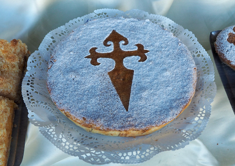 Torta de Santiago, an almond cake typical of Santiago de Compostella, Spain