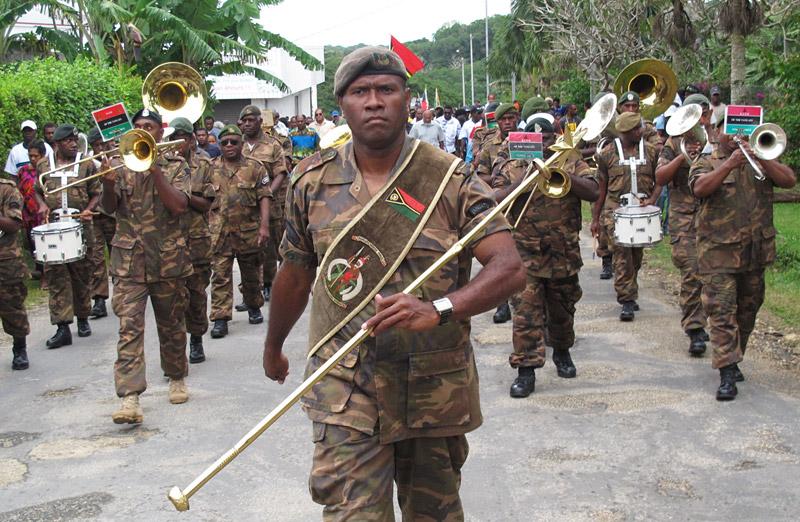 Vanuatu's military brass band leads the way to blackbirding commemorations in Port Vila
