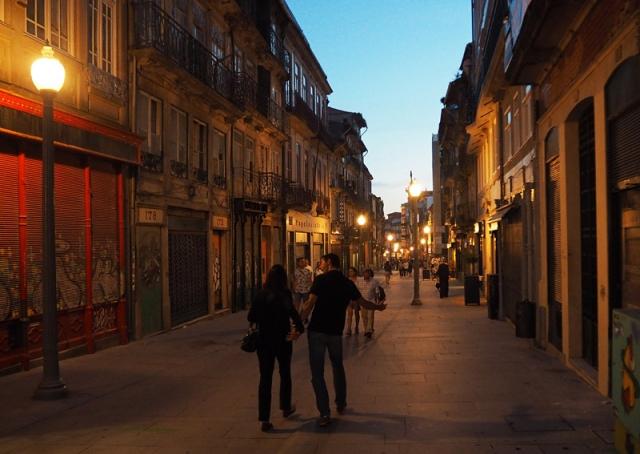A Porto street by night, Portugal