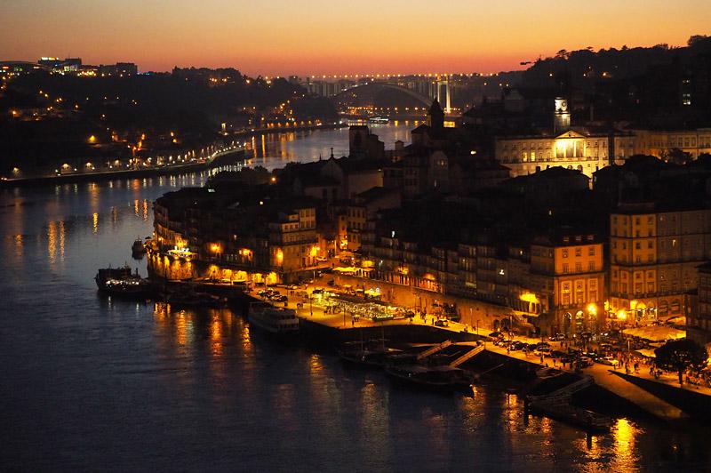 Rio Douro riverfront by night, Porto