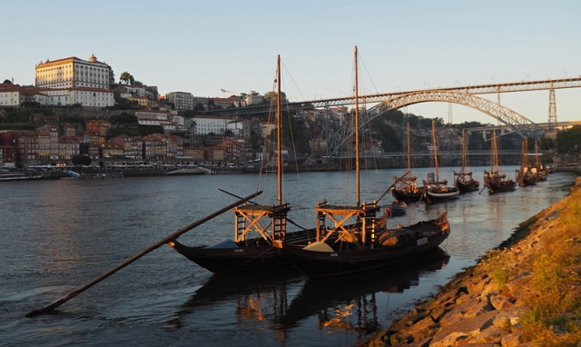 Traditional boats known as rabelo in the Rio Douro