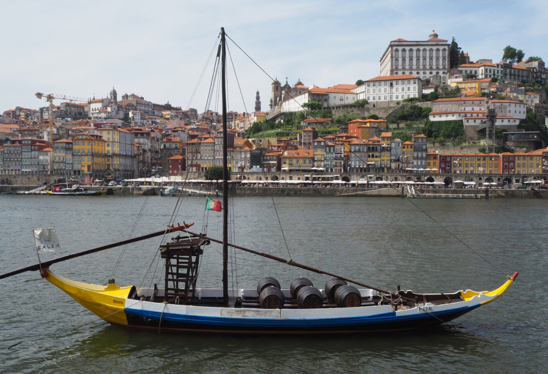 Traditional boats called rabelo used to bring port to Porto from vineyards upriver