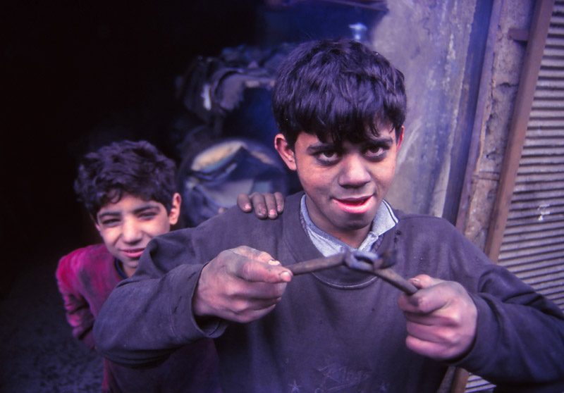 Boys in the blacksmiths' quarter, Aleppo, in 1995