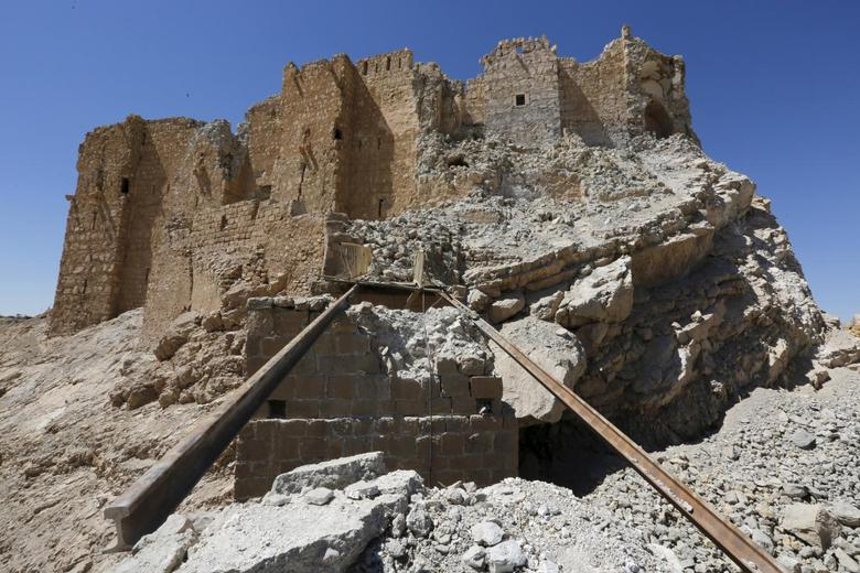 Damage to the 13th century castle Qala'at ibn Maan. Photo: Omar Sanadiki/Reuters