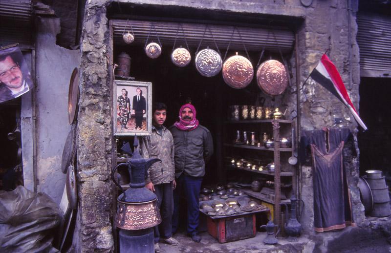 Ahmad ali Akaad and son in the copper souk, Aleppo