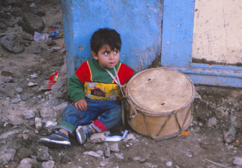 A drummer boy takes a rest on Arwad Island