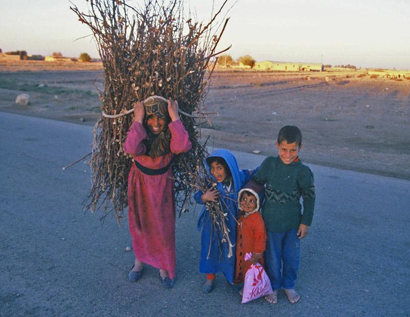 Children collecting firewood in a desert village, eastern Syria, in 1995