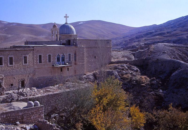 Mar Sarkis Monastery perches on a clifftop above Maaloula