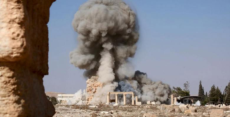 Image released by ISIS showing the destruction of Baal Shamin.