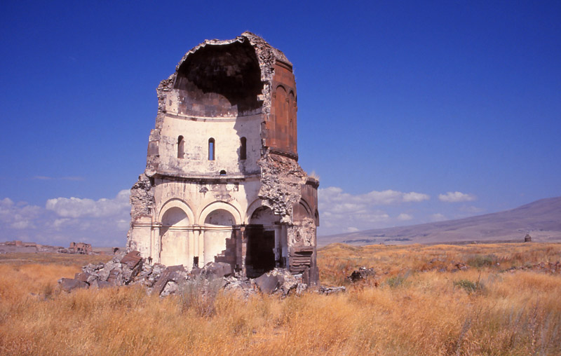 The Church of the Redeemer (built in 1034-36AD), in Ani, was split by lightning in 1955